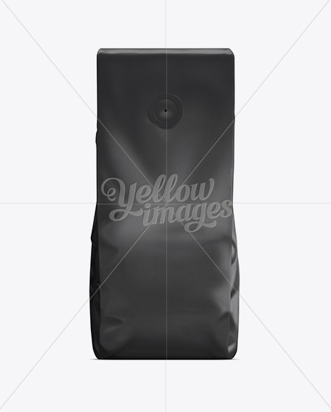 coffee bag with valve black in bag sack mockups on yellow images