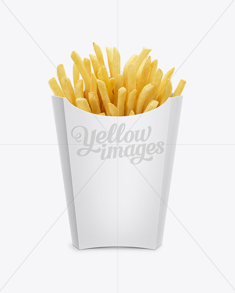 Paper French Fries Box - Large size in Box Mockups on Yellow Images ...