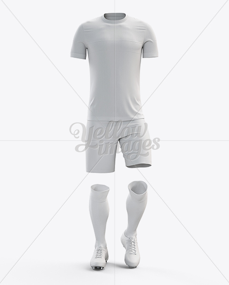 Full Soccer Kit Front View In Apparel Mockups On Yellow Images