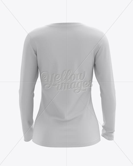 Womens long sleeve t shirt hq mockup back view in for Womens yellow long sleeve shirt