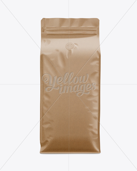 Kraft Paper Coffee Bag Mockup Front View