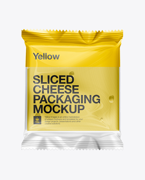 Sliced Cheese Packaging Mockup in Flow-Pack Mockups on Yellow ...