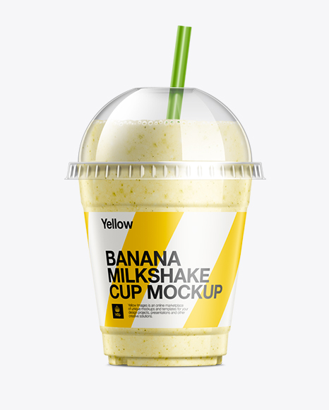 Banana Milkshake Cup With Straw Mockup In Cup Amp Bowl