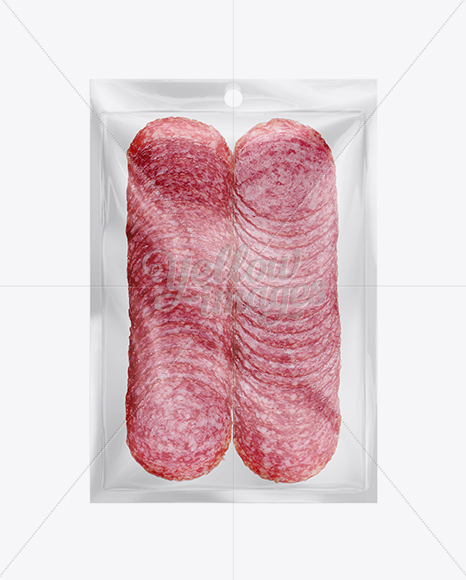 Plastic bags mockup - Plastic Vacuum Bag W Sliced Winter Salami Mockup In Tray