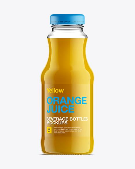 Clear Glass Bottle W/ Orange Juice Mockup in Bottle ...