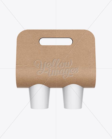 Kraft Coffee Cup Carrier Mockup