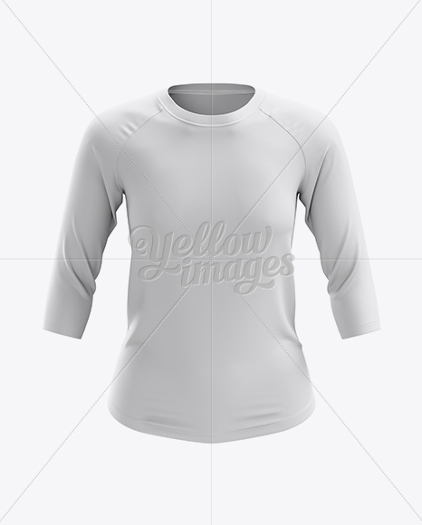 Womens Baseball Tee W 34 Sleeves Mockup Front View In Apparel