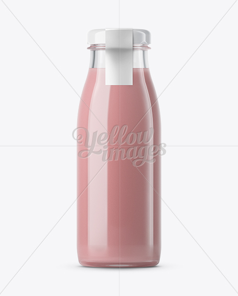 strawberry yogurt bottle with a tag mockup in bottle mockups on