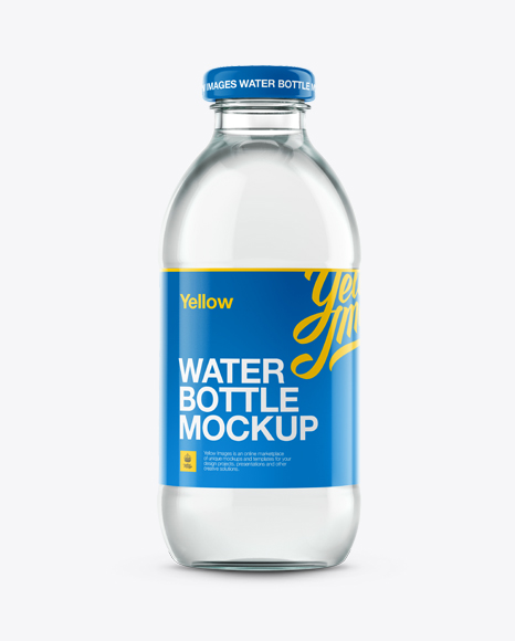 Glass Water Bottle Mockup in Bottle Mockups on Yellow Images ...