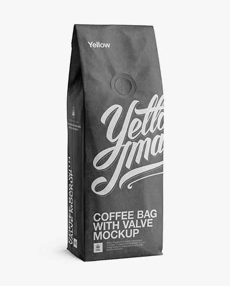 250g kraft coffee bag with valve mockup