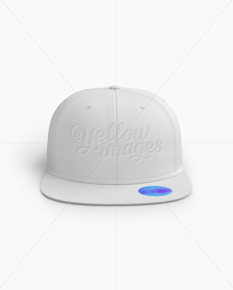 Snapback Cap with Sticker Mockup (Front View)