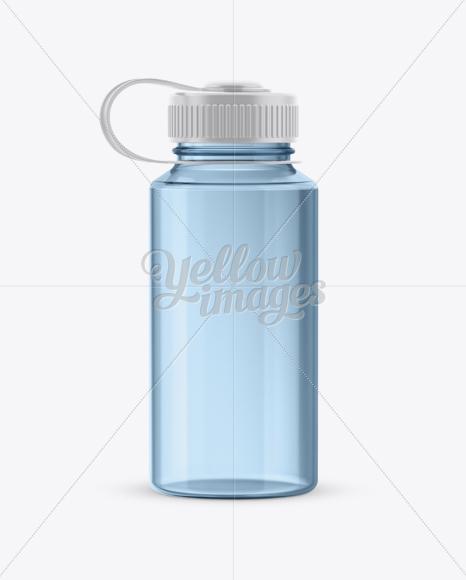 Blue Plastic Reusable Water Bottle Mockup In Bottle