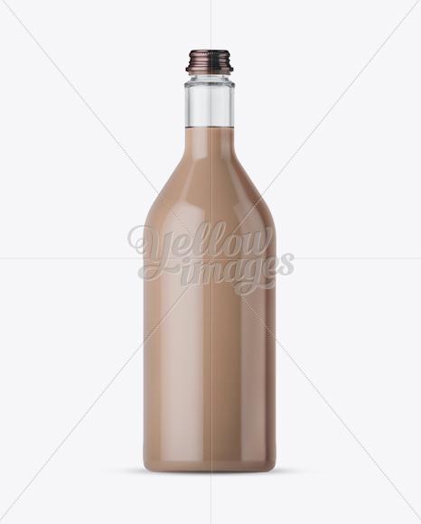 1L Clear Glass Bottle w/ Milk Shake Mockup