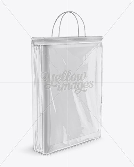 Clear Vinyl Bag W Bed Linen Mockup Halfside View