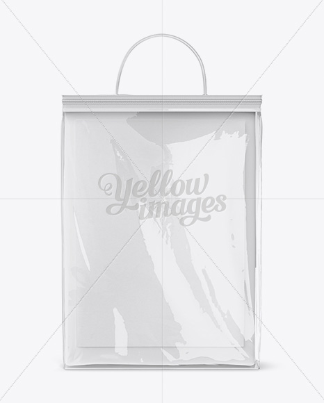 Clear Vinyl Bag With Bed Linen Mockup Front Side Back View