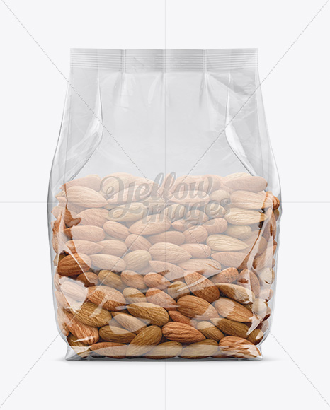 Clear Bag With Almonds Mockup Front View