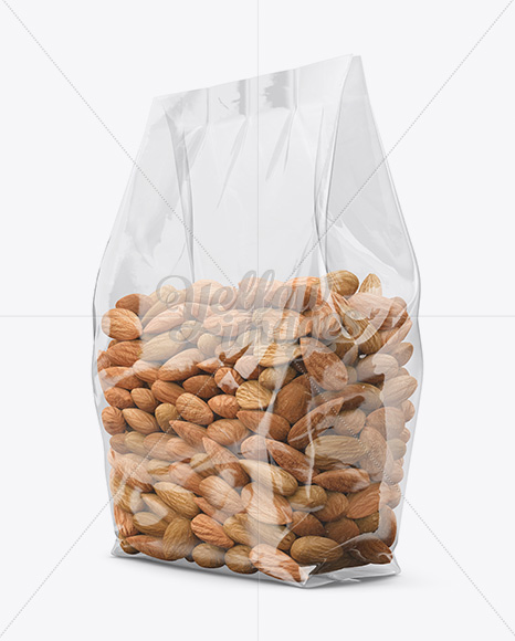 Clear Bag With Almonds Mockup Halfside View