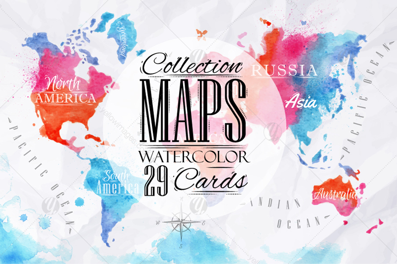 Watercolor world map in graphics on yellow images creative store watercolor world map gumiabroncs Gallery