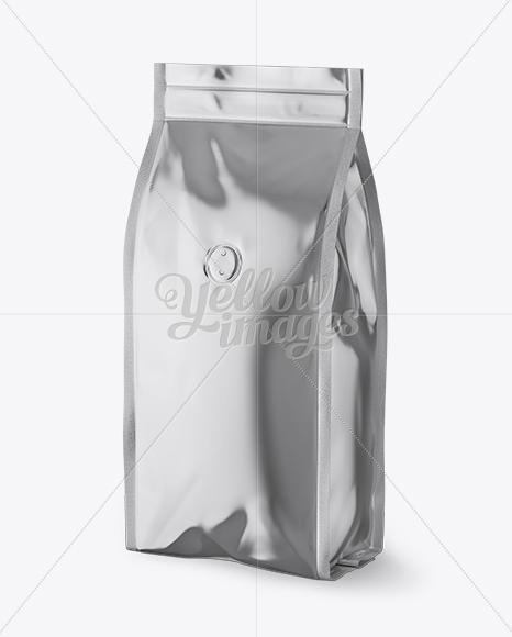 Metallic Coffee Bag With Valve Mockup Halfside View