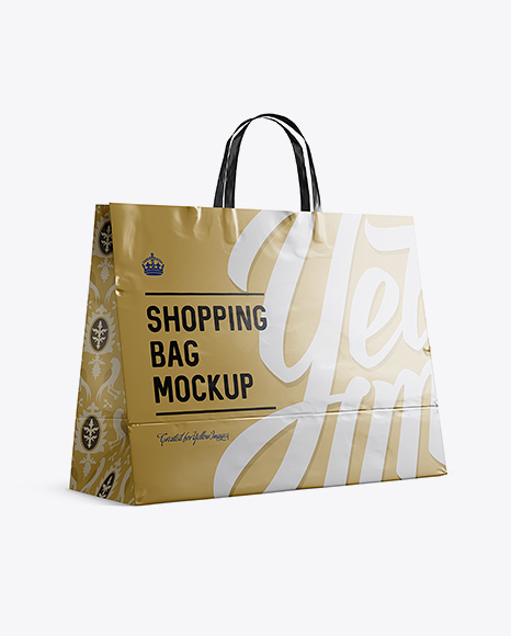 Metal Paper Shopping Bag Mockup – Halfside View (Eye-Level Shot)