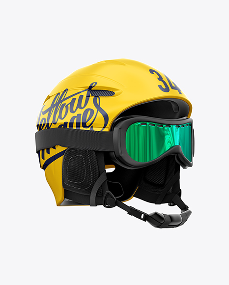 Ski Helmet With Goggles Mockup – Right Half Side View