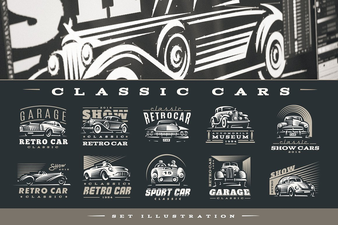 Classic Cars Logo In Logo Templates On Yellow Images Creative Store