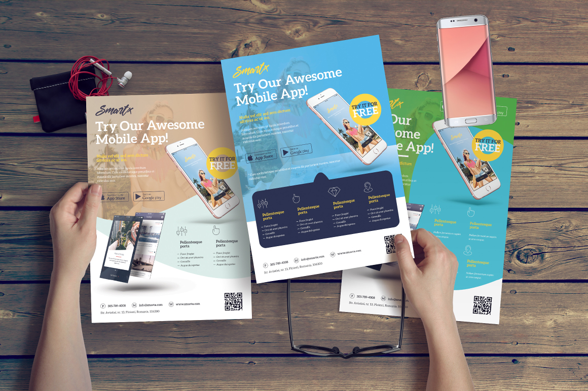 mobile app flyer in flyer templates on yellow images creative store