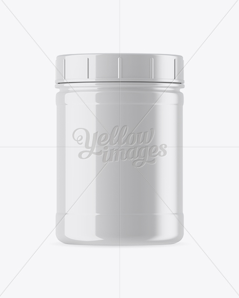 Glossy Plastic Protein Jar Mockup In Jar Mockups On Yellow