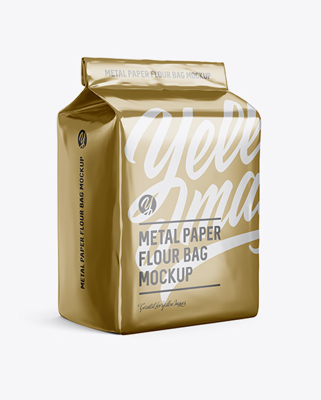 Metallic Paper Flour Bag Mockup