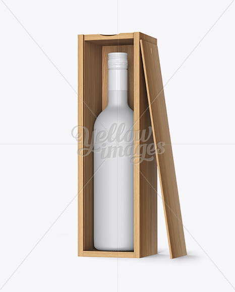 Ceramic Wine Bottle In Open Wooden Box Mockup - Half Side View