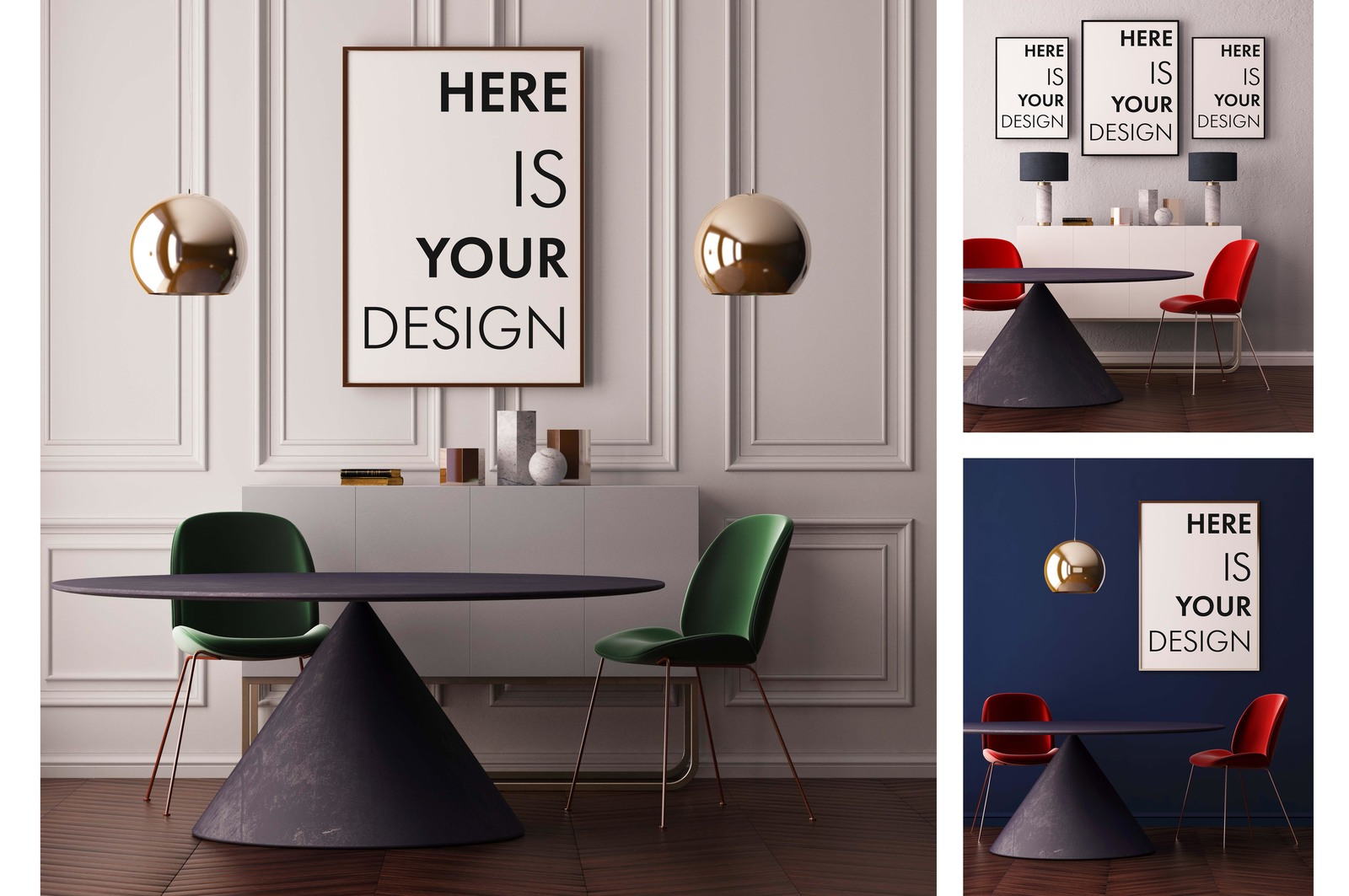 Mockup poster with a dining table in indoor advertising for Dining room posters