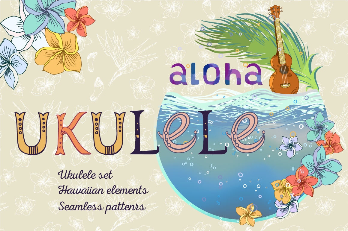 Ukulele Set With Hawaiian Patterns And Elements In Illustrations On