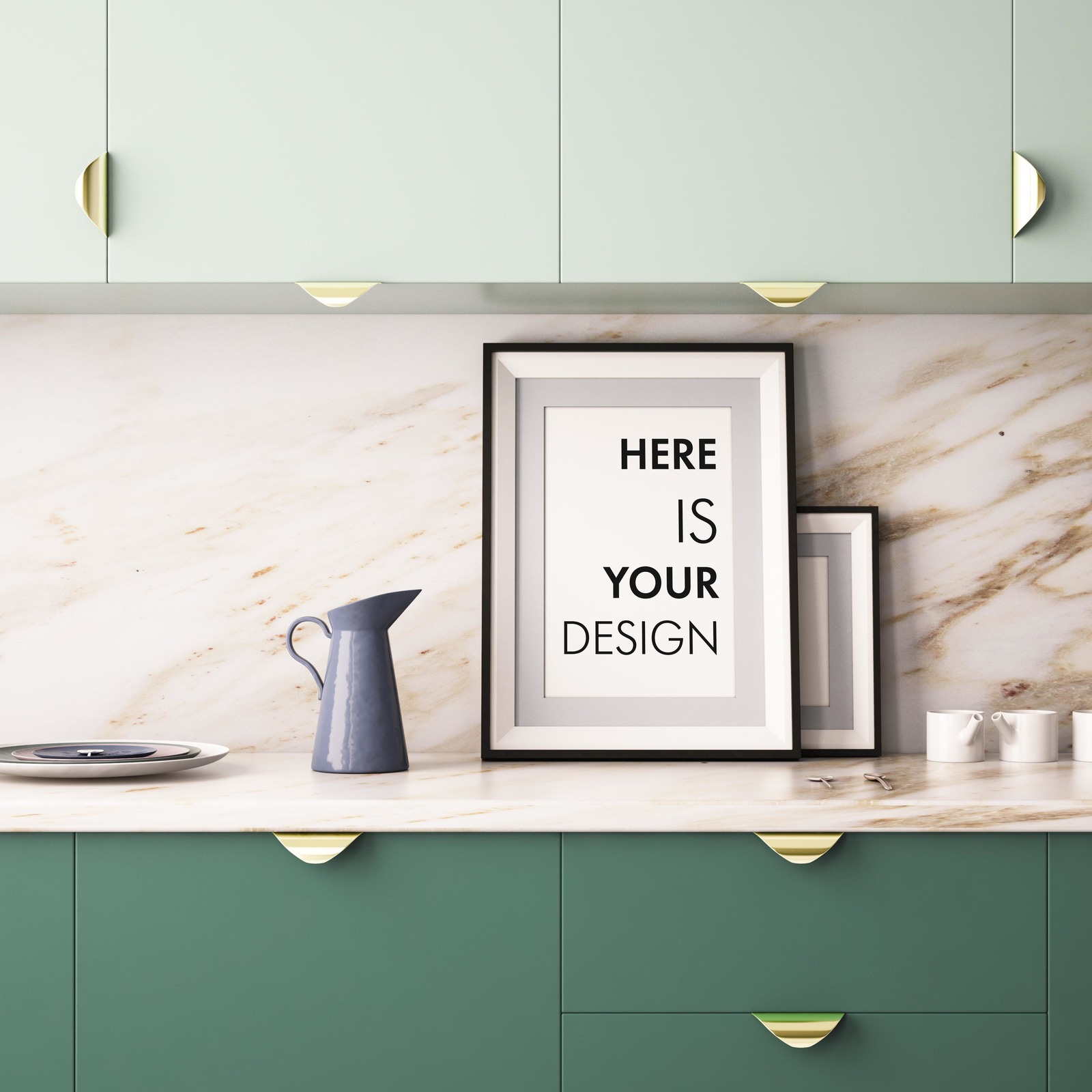 10 Mockups Posters In The Kitchen In Indoor Advertising