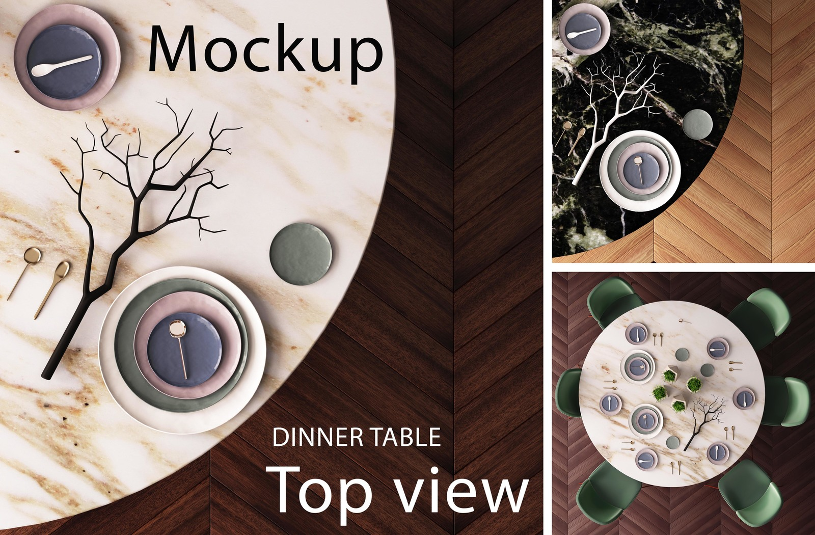 Mockup Of A Dining Table Top View In Indoor Advertising