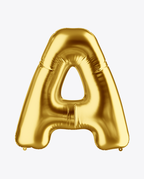 Letter a foil balloon mockup in object mockups on yellow for Letter balloons denver