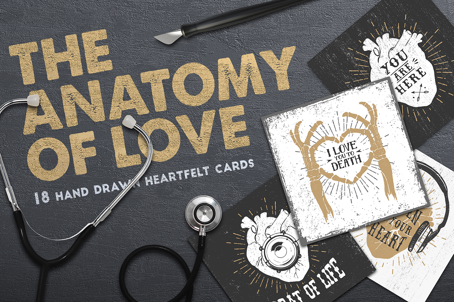 Anatomy Of Love. 18 Cards + Bonus in Design Elements on Yellow ...