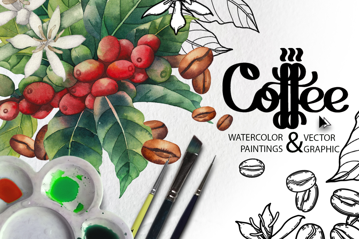 Watercolor and graphic coffee plants in Design Elements on Yellow Images Creative Store