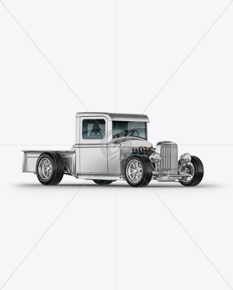 metallic hot rod mockup half side view in vehicle. Black Bedroom Furniture Sets. Home Design Ideas
