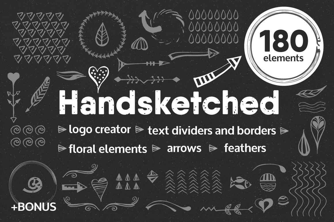 In Design Elements : Handsketched elements logos creator in design on