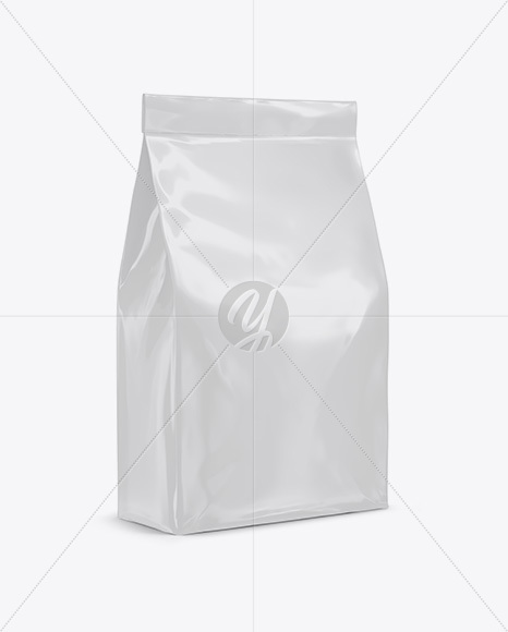 Stitched Glossy Paper Bag Mockup - Halfside View
