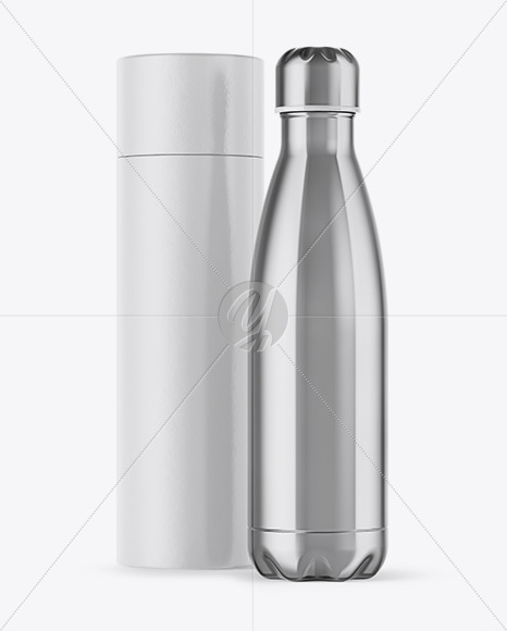 500ml Stainless Steel Bottle with Paper Tube Mockup
