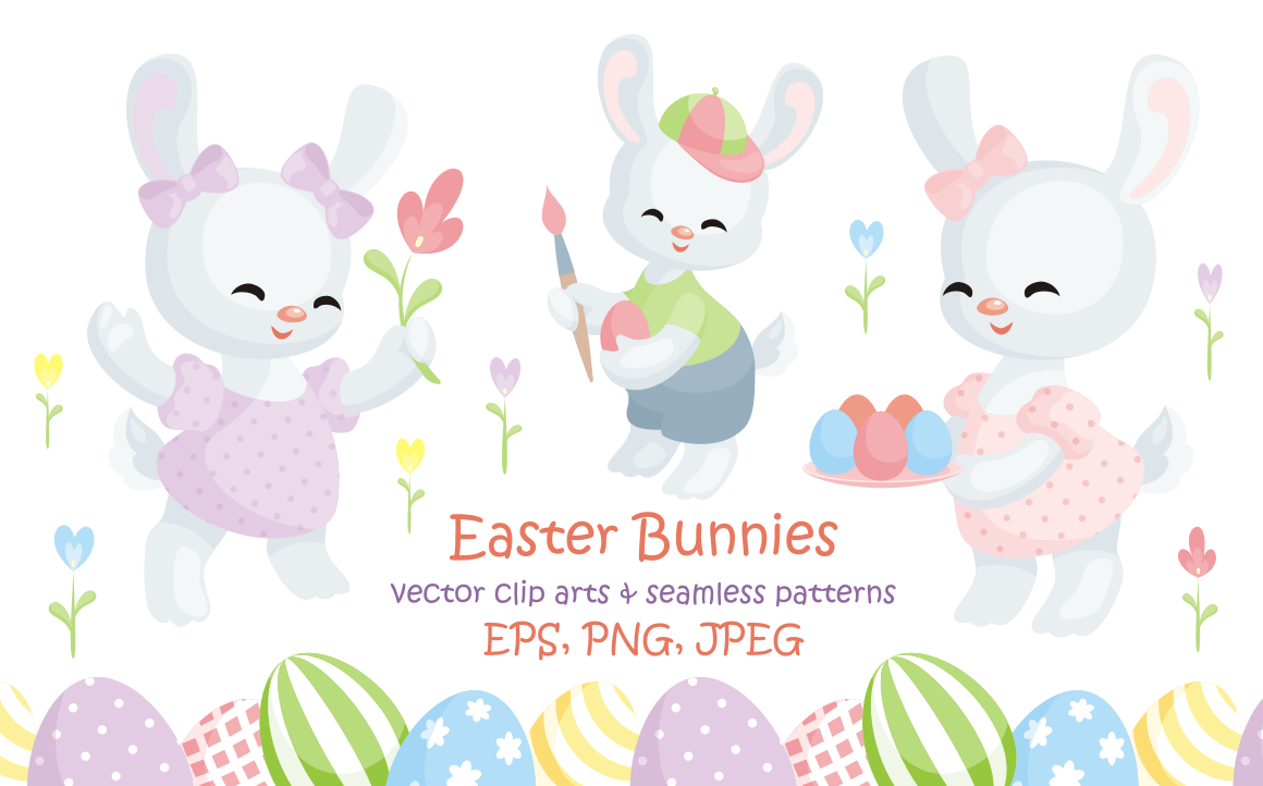 Easter Bunnies. Vector Clip Arts And Seamless Patterns. In