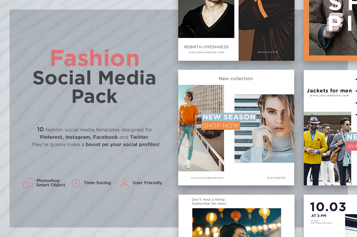 fashion social media pack in social media templates on yellow images creative store