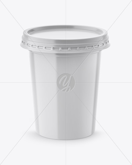 500g Plastic Cup Mockup - Front View (High-Angle Shot)