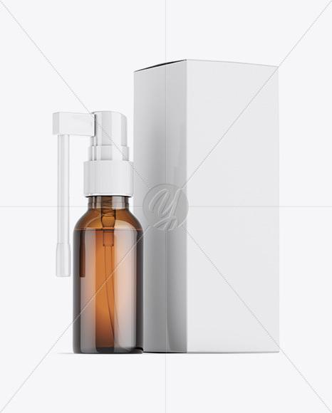 Amber Spray Bottle W/ Glossy Paper Box Mockup