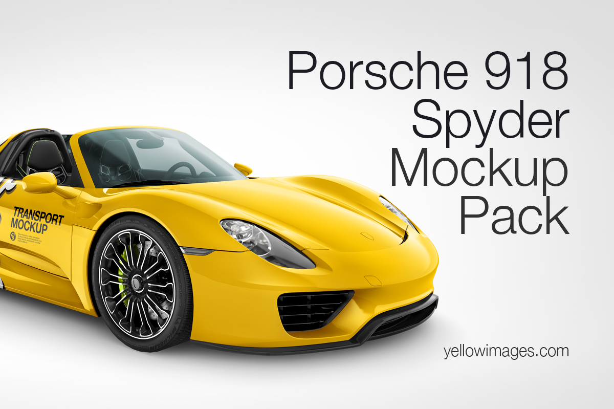 porsche 918 spyder mockup pack in vehicle mockups on. Black Bedroom Furniture Sets. Home Design Ideas