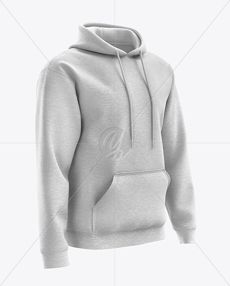 Men's Heather Hoodie mockup (Right Half Side View)