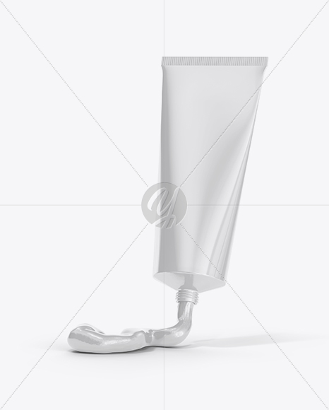Glossy Tube with Cream Mockup