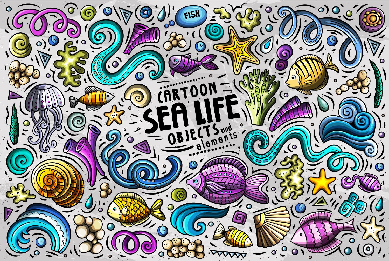 In Design Elements : Sea life vector cartoon objects set in design elements on