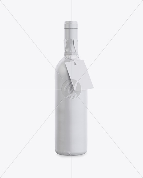 wine bottle in glossy paper wrap w   label mockup in bottle